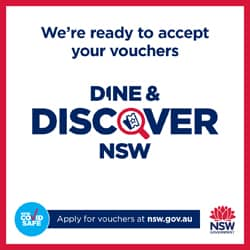 We accept discover NSW vouchers