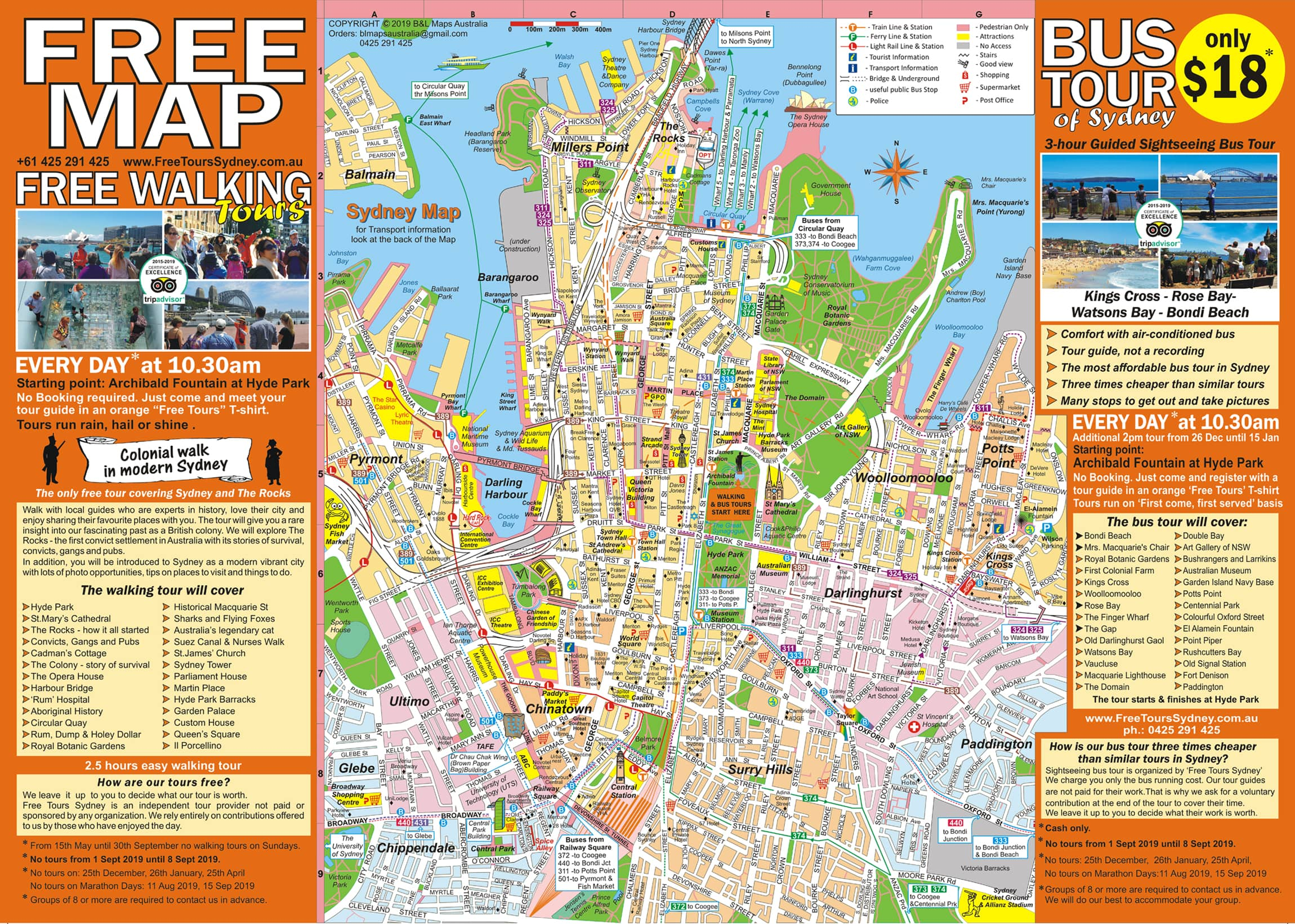 The most detailed tourist map of Sydney CBD and the Rocks area. Provides information on tourist attractions, sightseeing, places to visit and free things to do in Sydney, Australia.