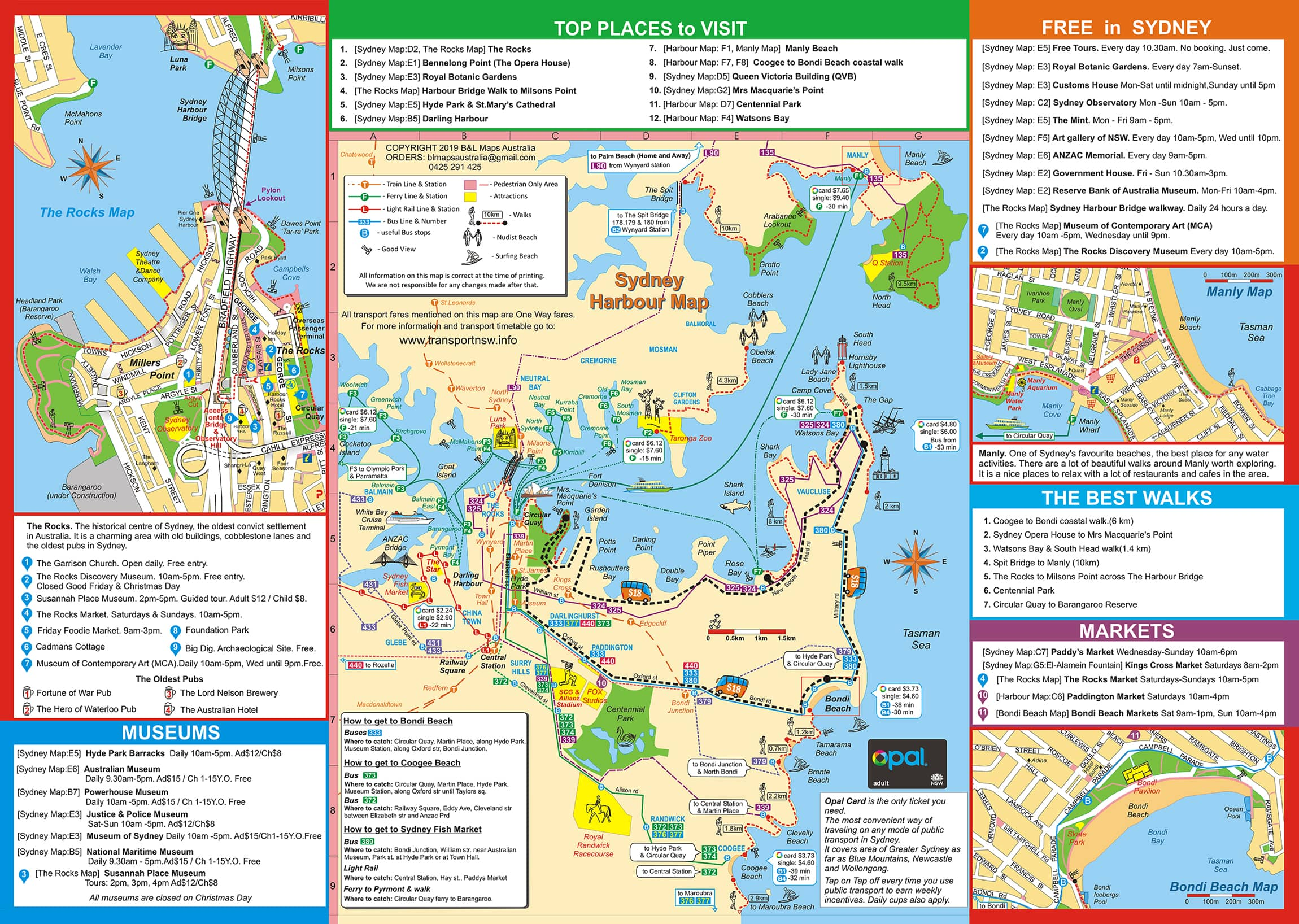 A tourist map of Sydney Harbour. The map covers the area from North Sydney until Bondi Beach and from Balmain until the Tasman Sea. It provides information on Sydney transport, attractions, walks, and lists different activities.